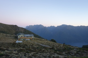 Sunset at Luxmore Hut on the Kepler Track, a Great Walk