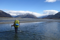 Crossing the Rangitata River on the Te Araroa Trail